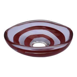 Murano Blown Glass Footed Swirl Bowl