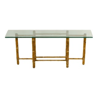 1970s Beveled Thick Glass Top Bamboo Console Table For Sale
