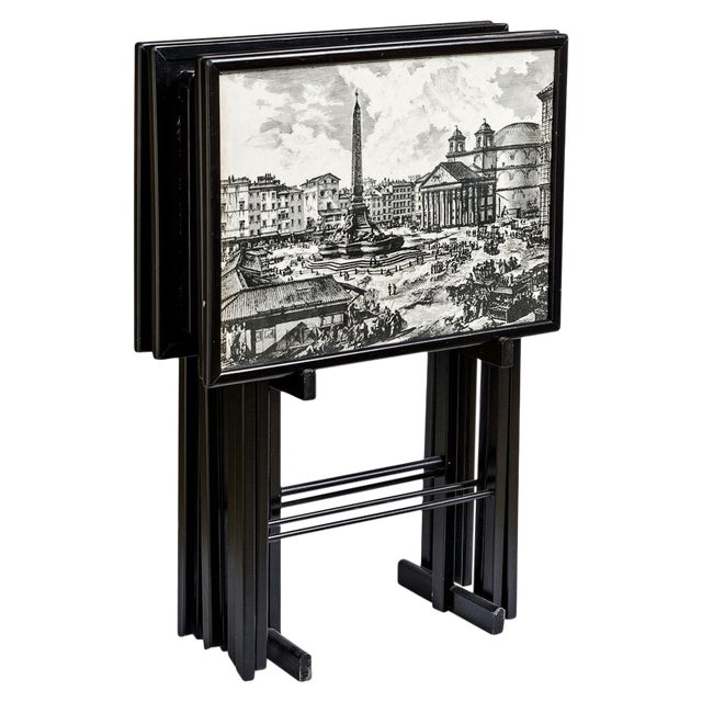 Folding Tray Tables Set With Scenes From Rome, Italy in Black & White, Set -4 For Sale