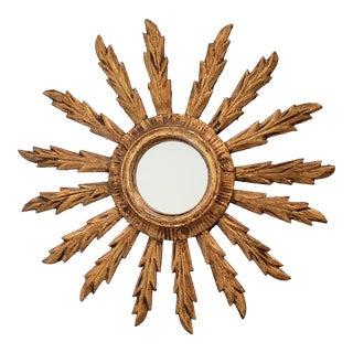 Mid Century Italian Giltwood Sunburst Mirror For Sale