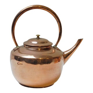 Handmade Traditional Long Tube Month Cooper Teapot For Sale