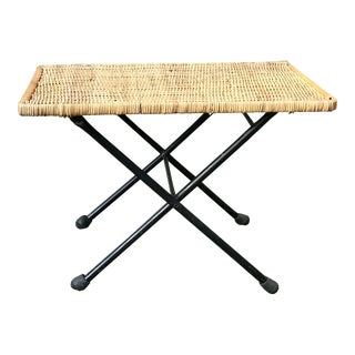 Mid Century Campaign Wicker and Iron Drink Table For Sale