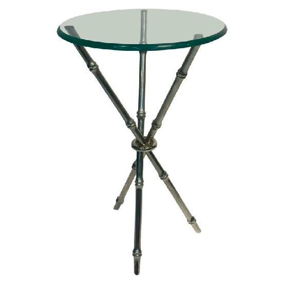 A beautiful, faux bamboo, Italian, chrome side table, or accent table, circa 1970. Good vintage condition.
