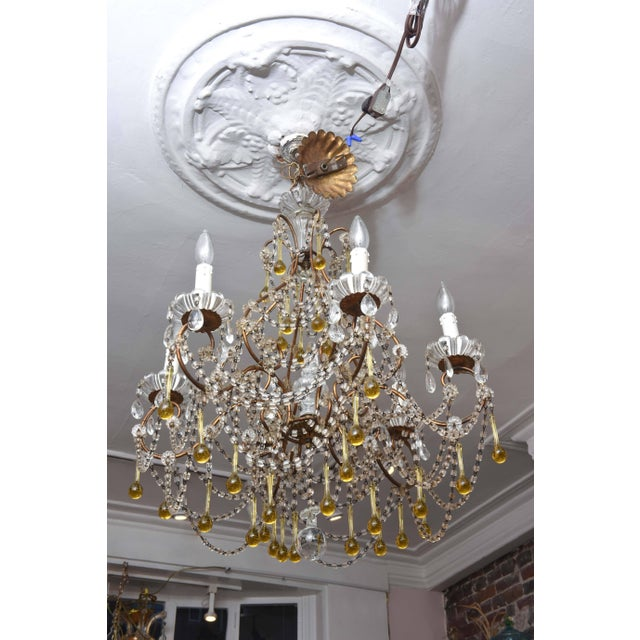 Gold Vintage Venetian Glass and Gilt Metal Chandelier For Sale - Image 8 of 10