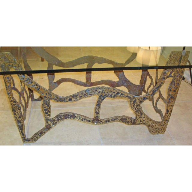 Brutalist Mid-Century Modernist Dining Table in Sand Cast Bronze and Glass, USA circa 1975 For Sale - Image 3 of 5