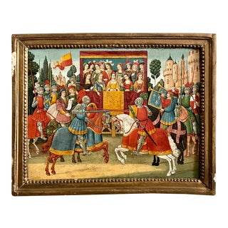 19th Century Medieval Jousting Match Oil Painting on Panel For Sale