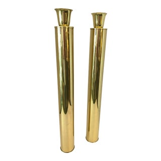 Italian Mid-Century Tall Brass Candlesticks, by Oggetti, A-Pair For Sale