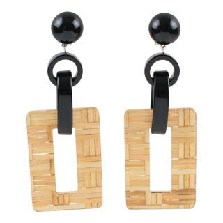 Angela Caputi Black Resin and Lucite With Rattan Dangling Clip on Earrings For Sale