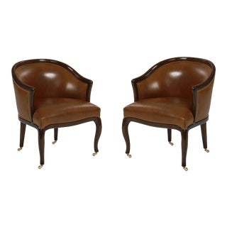 Mid Century Modern Leather Laurent Tub Rolling Chairs With Baby Nail Heads - a Pair
