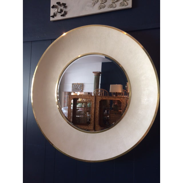 Large Modern Round Shagreen-Style Mirror For Sale - Image 13 of 13