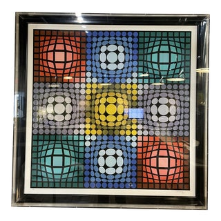 Gorgeous Victor Vasarely Large Serigraph in Plexiglass Box Frame For Sale
