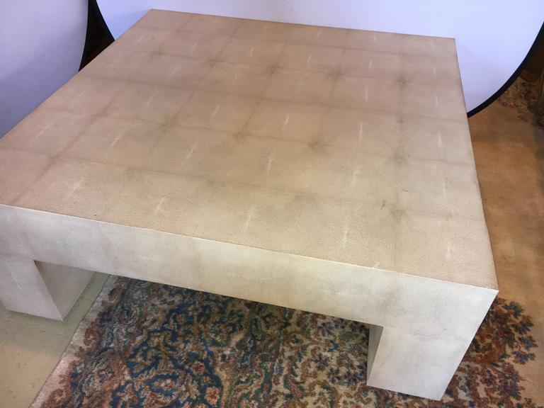 Palatial Karl Springer Style Linen Wrapped Coffee Table Chairish