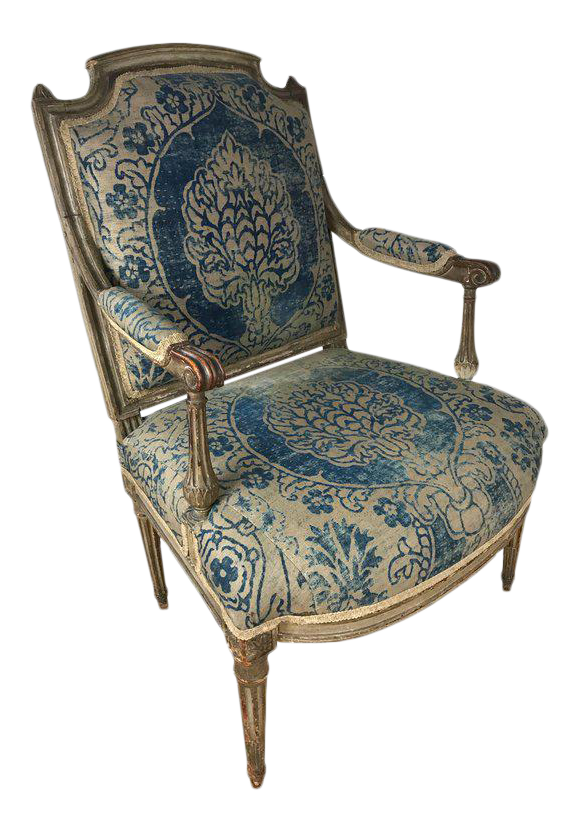 Exquisite 18th Century Louis XVI Fauteuil Upholstered in Fortuny