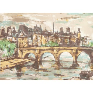 'The Pont Neuf With Notre Dame in the Distance' by Kazunari Ogata, French Post-Impressionist Artist, Tokyo Fine Arts Academy For Sale
