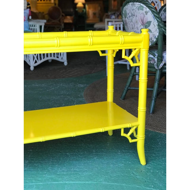 Lacquered Yellow Faux Bamboo and Fretwork Console Table For Sale - Image 9 of 13