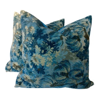 "Brunschwig and Fils ""Great Ming"" Twilight Velvet Pillows - A Pair For Sale"