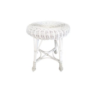Vintage White Painted Round Rattan Wicker Foot Stool Seat