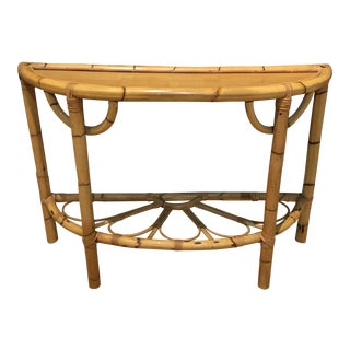 1970s Mid Century Bamboo, Rattan, Flower Demi Lune Foyer Table For Sale