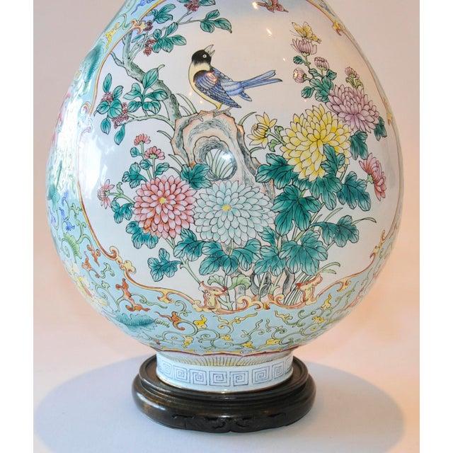 Vintage Chinese Enamel Vase, Flora & Fauna Details For Sale - Image 10 of 11