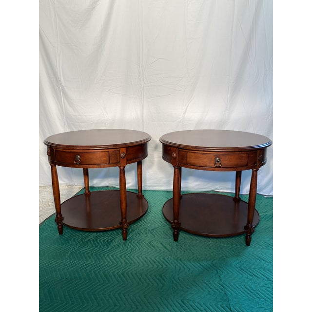 Metal Drexel Heritage Round Occasional Tables - a Pair For Sale - Image 7 of 8