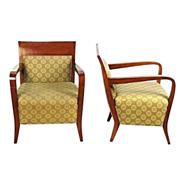 Modern Birch Walnut Club Chairs - A Pair For Sale