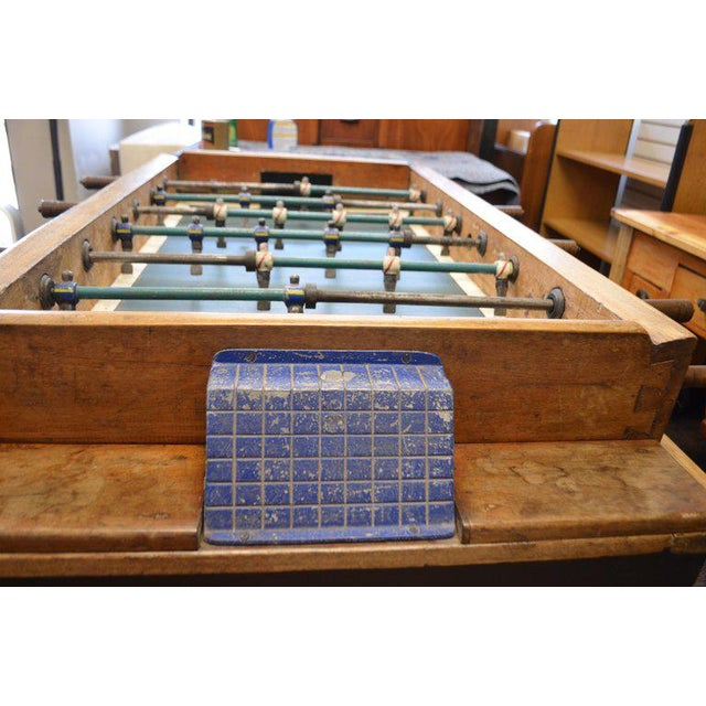 Metal Foosball Game Sports Table From Italy on Handmade Wooden Base; Mid Century For Sale - Image 7 of 13