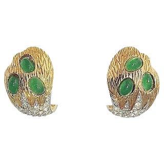 1960s Jomaz Faux-Emerald Earrings For Sale