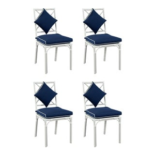 Haven Outdoor Dining Chair, Canvas Navy with Canvas White Welt, Set of Four For Sale
