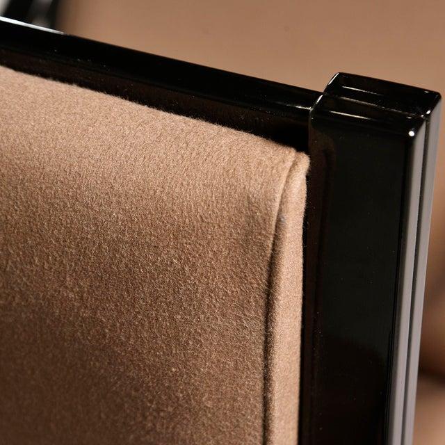 Pair Mid Century Ebonised High Back Italian Armchairs For Sale - Image 9 of 10