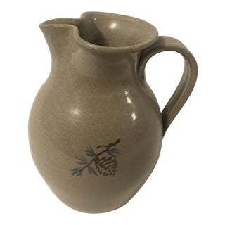 Jugtown Ware 40 Ounce Pitcher With Pine Cone Design For Sale