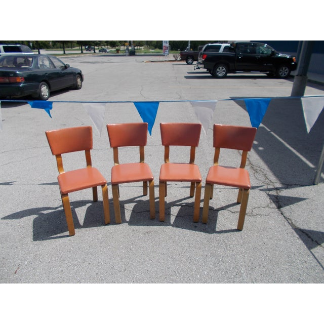 These are Thonet bentwood chairs. They are in good condition with typical wear marks and shoe marks on the legs. The...