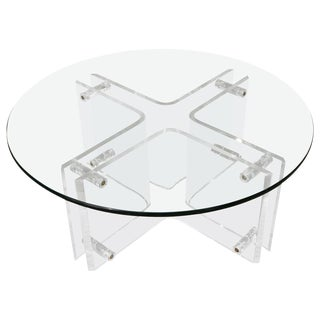 Attractive Round Mid-Century Lucite Cocktail Table with Glass Top For Sale