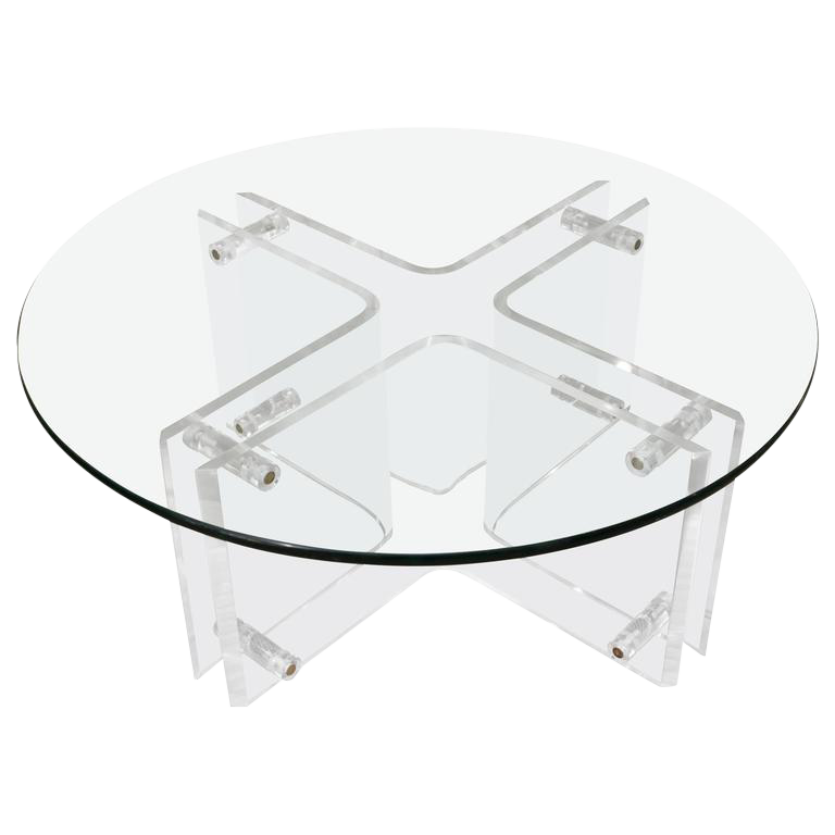 Beau Attractive Round Mid Century Lucite Cocktail Table With Glass Top For Sale