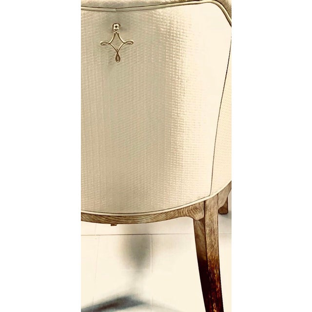 White Contemporary Champagne Cream Upholstered Dining Chairs - Set of 3 For Sale - Image 8 of 10