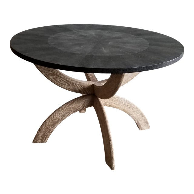 Contemporary Black Shagreen Round Dining Table For Sale