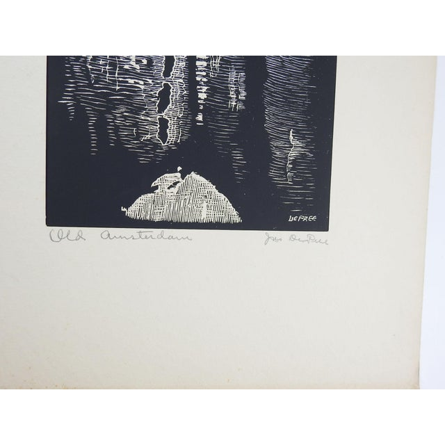 Gothic Old Amsterdam Woodcut Print by John DePree For Sale - Image 3 of 4