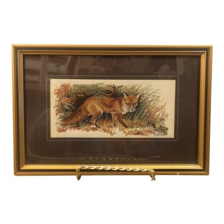 Art Coventry England Wildlife Series Red Fox Woven in Silk, Framed For Sale
