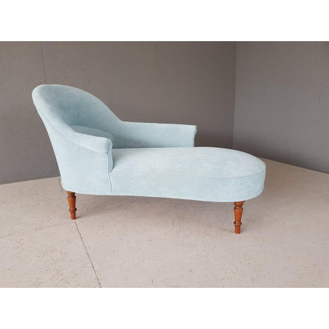 Upholstery Blue French Style Chaise Lounge For Sale - Image 4 of 13