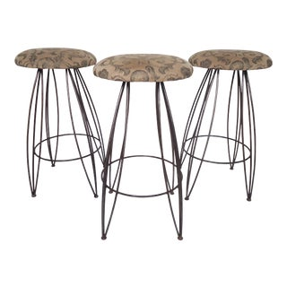 Set of Vintage Modern Iron Stools For Sale
