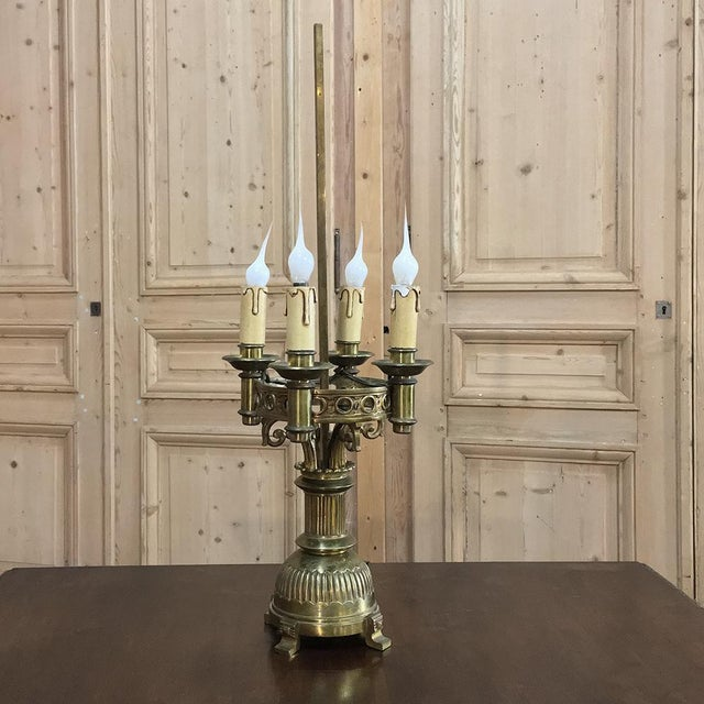 Green Antique French Art Deco Period Bronze Bouillote Lamp With Shade For Sale - Image 8 of 11