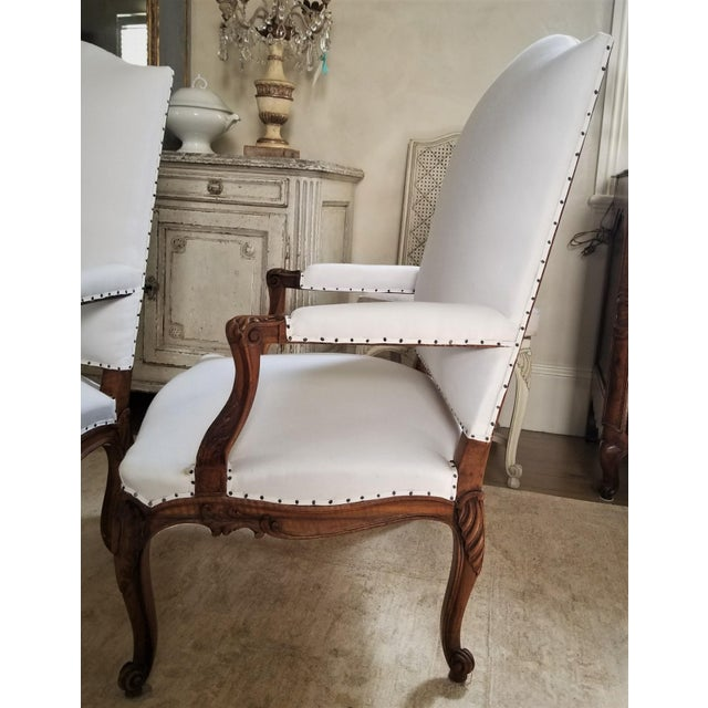 Louis XV 19th C. Walnut Louis XV Armchairs Pair For Sale - Image 3 of 12