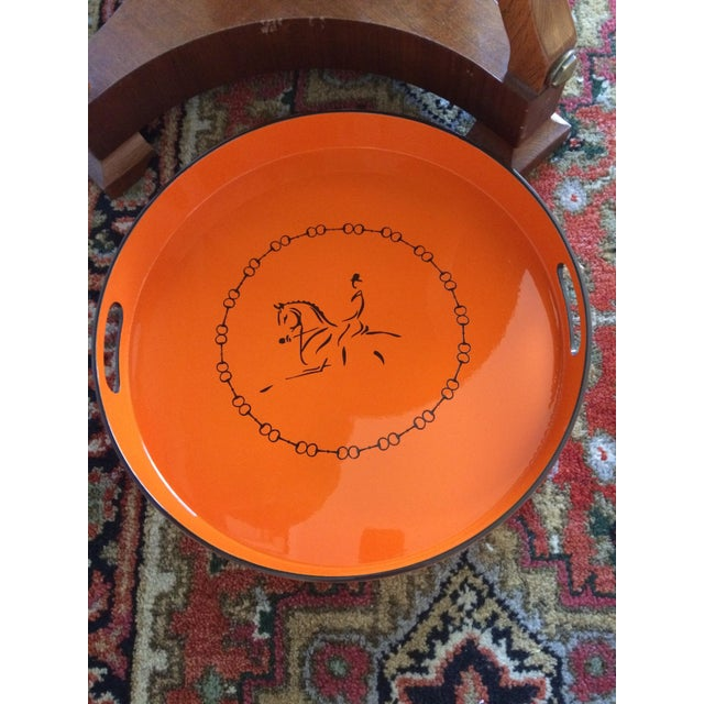 Equestrian Motif Hermes Style Orange Lacquered Serving Bar Tray For Sale - Image 9 of 11