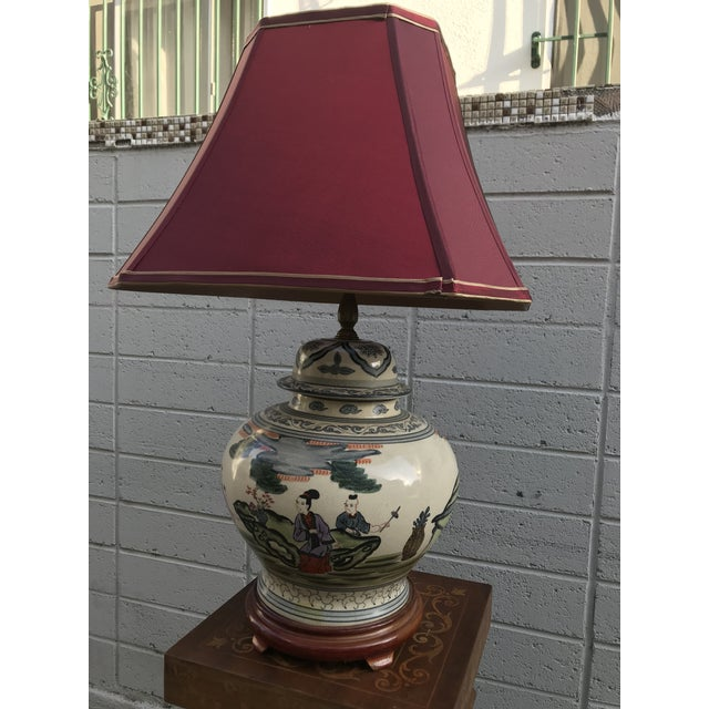 Red Antique Rare Chinoiserie Hand Painted Ginger Jar Lamp For Sale - Image 8 of 13