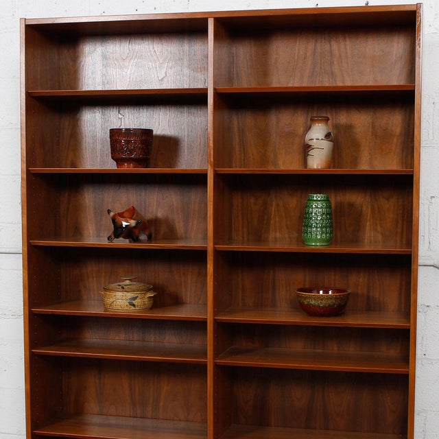 Danish Modern Double Bookcase with Adjustable Shelves in Walnut - Image 7 of 7