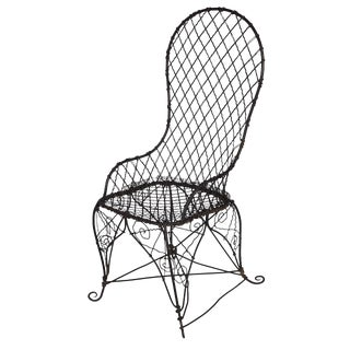 Antique Black Wire Chair For Sale