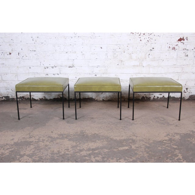 Metal Paul McCobb Green Vinyl Upholstered Iron Stool or Ottoman For Sale - Image 7 of 10