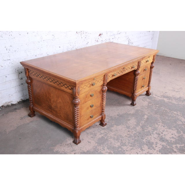 Antique Carved Burled Walnut Executive Lincoln Desk, Chicago, Circa 1930s For Sale - Image 4 of 13