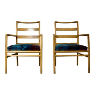 t.h. Robsjohn-Gibbings Modern Accent Chairs W/Jack Lenor Larsen Fabric - a Pair For Sale