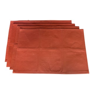 Red Leather Table Placemats - Set of 4 For Sale