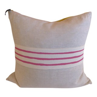 Late 20th Century French Linen Center - Striped Pillow